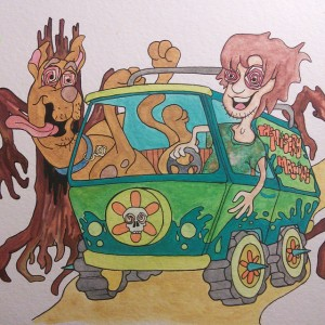 Close up of the finished #miserymachine #mysterymachine #paint #painting #watercolorpainting #watercolor #art #artwork #artist #drawing #ink #scooby #scoobydoo #scoobysnacks #shaggyandscooby #shaggy #spookykids #spookytree #meddlingkids #cartoonart #cartoons #toons #oldschoolcartoons #hippytrippy