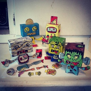 The whole team and all the #accessories so far! #Popbloks #handmade #papertoys One more to go in this set of #robotsvsmonsters #monsters #robots #fun #paper #toys #creative #painting #drawing #colorful #popart #watercolor #popblok #art #artwork #madebyhand #nocomputer #paint #handdrawn #mummy #frankenstein #oldschoolvideogames