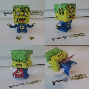 Various angles of Supermon! #popbloks #paper #toys #madebyhand #nocomputer #art #artwork #artist #painting #drawing #creating #makingthings #watercolor #monster #monsters #monstersvsrobots #creative #handcrafted