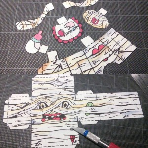 In the #process #popbloks #paper #toys #creating #makingthings #madebyhand #nocomputer #art #artwork #creative #papertoys #monsters #mummy #drawing #watercolor #painting