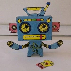 He's complete! I call this guy #Boombot the last #robot in my #robotsvsmonsters series! #Popbloks #handmade #papertoys available soon! #creative #art #boombox #cassette #popblok #popart #colorful #fun #madebyhand #nocomputer #artwork #watercolor #paint #drawing #creating #toys #makingthings #artwork #funstuff