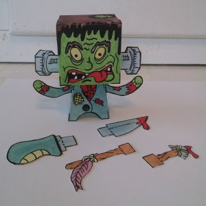 Newest one is complete! I call this guy Dead Frank! #popbloks #papertoys #handmade #handcrafted #nocomputer #monsters #popblok #popart #art #artwork #drawing #painting #creating #watercolor #creative