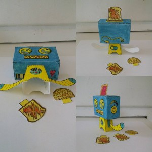 Some other views of my first #complete #popblok #popbot #robot #paper #toy! #creating #handmade #nocomputer #robots #art #artwork #artist #watercolorpainting #drawing #painting #handcrafted #watercolor #poptart #popart