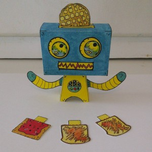 First #complete #paper #toy #robot complete with various pick what you #toast accessories! #popblok #popbot #robots #robotsvsmonsters #papertoys #art #artwork #artist #creating #handmade #nocomputer #watercolor #makingthings #watercolorpainting #painting #handcrafted #poptart #popart