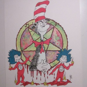 Finished all the #black it is now #complete! #catinthehat #drseuss #art #artist #artwork #artsynerdy #evilcat #thingtwo #thingone #drawing #satan #666 #pentagram #color #colorful #tiedye #hippytrippy #psychedelic #psychedelicart #watercolour #watercolor #watercolorpainting #creating #process #paint #painting #childrensbooks #seuss