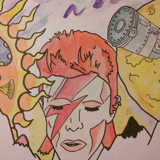 Another piece of the puzzle bowie drawing handdrawn watercolor watercolorpaintinghellip