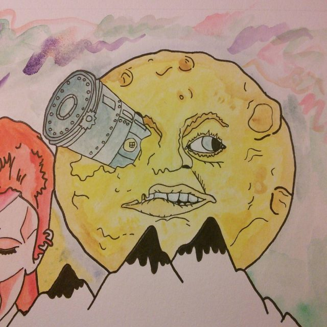Another pieceatriptothemoon drawing colors painting music watercolor watercolorpainting handdrawn smashingpumpkinshellip
