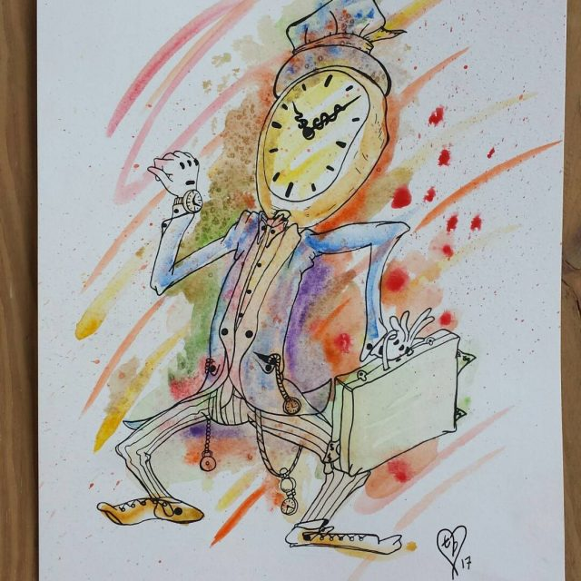 clockman drawing sketch watercolor art imlate clockface paint color inkhellip